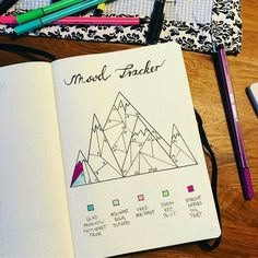 Mood tracker Bullet journal Could use for goals, accomplishments/tasks, etc. Just love the mountain! Bullet Journal Tracker, Bullet Journal School, Bullet Journal 2019, Bullet Journal Writing, Bullet Journal Themes, Bullet Journal Inspo, Bullet Journal Spread, Bullet Journal Layout, Bullet Journal Calendrier