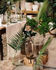 Green and bold A little reception Pinspiration for your Thursday morning!  #villagebridalhomewood #pinspiration #palms #receptiongoals #southernwedding #birminghambride #alabamaweddings