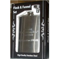 Personalized Flask and Funnel Gift Set by CKB Products Wholesale. $9.93. Free Engraving. 8oz Flask and Funnel. Quality Stainless Steel. Flask Funnel. Custom Engraved. This elegant and classy stainless steel flask and funnel gift set is personalized and offered by CKB Products Wholesale!   You can have up to 4 lines of text, 15 characters per line engraved on the 8oz flask in this set. Currently we are offering stylish block lettering text and cannot do graphics, only text....