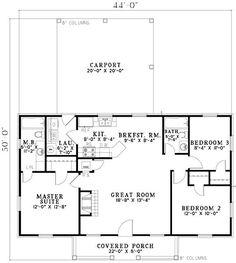 Plano Casa de 100m2 con garaje abierto