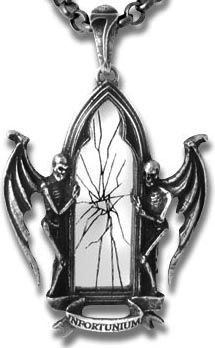 Pendant- cracked mirror with 2 angels of death