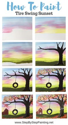How To Paint Fall Tire Swing - Step By Step Painting Learn to paint a sunset step by step. This tutorial includes full picture steps and video. Simple Canvas Paintings, Small Canvas Art, Easy Canvas Painting, Diy Canvas Art, Diy Painting, Painting Lessons, How To Paint Canvas, Happy Paintings, Matte Painting