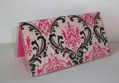 Checkbook Cover / Holder / Case   Candy Madison damask by Laa766, $6.75 insert / register / checkbook / duplicate / patterned / fabric / top tear / gifts under $10. school / college / dorm