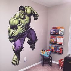 Kids bedroom featuring a Hulk - Avengers Assemble Fathead wall decal! If you're looking for the right Marvel's Avengers Assemble gift, Fathead has the perfect wall art present that is better than any old poster or sticker. Our Hulk – Avengers Assemble Fathead Wall Decal is perfect for a birthday or just because. Fathead of Hulk is huge and it stays up on its own with a low-tac adhesive that won't damage your walls. You can also move it and reuse it.