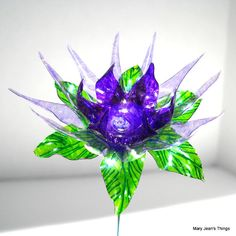Upcycled  Purple Spiky Fun Flower Made of Water Bottles