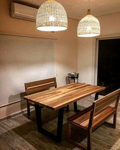 "Mesa de petiribi en 2"" macizo y patas de hierro en ángulo Dining Bench, Table, Furniture, Home Decor, Wooden Tables, Iron, Bed Covers, Dining Room Bench, Decoration Home"