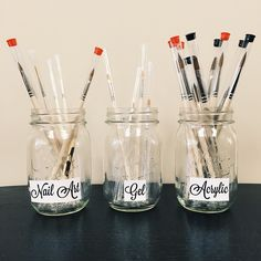 Tammy Taylor Tip Of The Week: Work more efficiently by organizing your Acrylic, Gel and Nail Art Brushes into separate glass jars for easy access and of course a cute look!