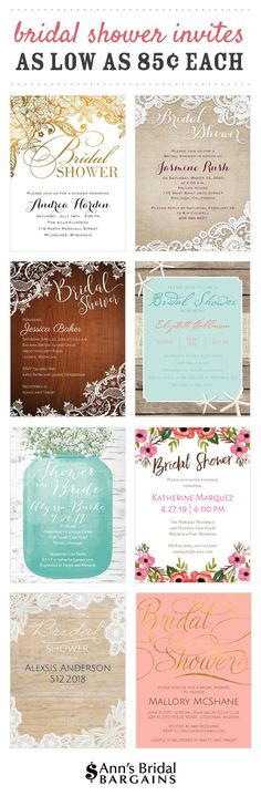 Bridal shower invitations that are adorable AND affordable. The sweetest designs for showers - from rustic themes to glam styles.