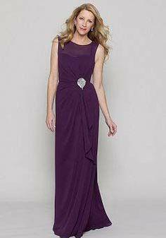 A line Floor Length Chiffon Jewel Neckline Mother of the Bride Dress - Lunadress.co.uk