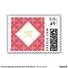 Luxury Monogram Pink and Gold Quatre Floral Postage