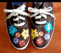 shoes with painted flowers