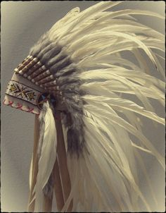 All White Feather, Cream Soft Full Leather Headdress. $80.00, via Etsy.