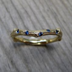 Scattered Sapphire Twig Wedding Band Recycled by kristincoffin, $635.00