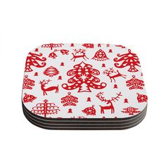 "Miranda Mol ""Frosted Landscape White"" Red Holiday Coasters (Set of 4) from KESS InHouse"