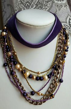 Check out this item in my Etsy shop https://www.etsy.com/ca/listing/490621799/multilayer-purple-necklace-with-velvet