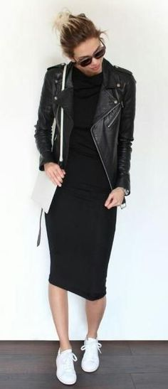 midi tee dress. leather jacket. sneakers.