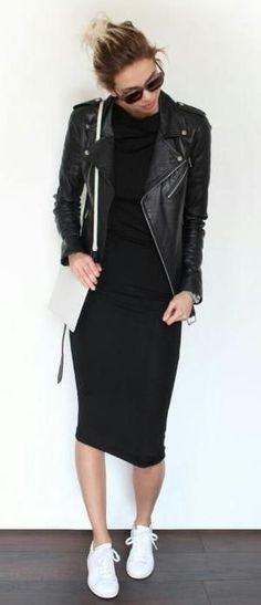 midi tee dress. leather jacket. sneakers.