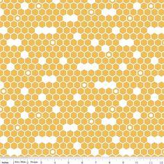 Honeycomb Fabric, Riley Blake Fine & Dandy C4362 Yellow, Hexagon Fabric in Honey Gold, Honeycomb Quilt Fabric, Cotton