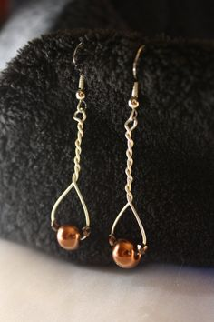 Copper color Bead and Wire wrap earrings by ConceptAna on Etsy