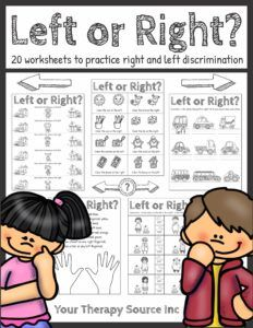 Left or Right Worksheets from Your Therapy Source Color Activities, Sensory Activities, Therapy Activities, Preschool Activities, Preschool Curriculum, Preschool Printables, Play Based Learning, Kids Learning, Pediatric Occupational Therapy