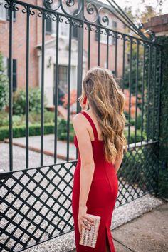 Gal Meets Glam The Red Dress - Cinq A Sept dress, Edie Parker clutch & Oscar De La Renta earrings