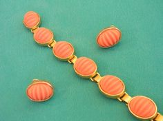 Castlecliff Faux Coral and Gold Tone Set by dianadivine on Etsy, $32.00