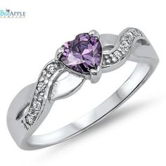 0.74 Carat Heart Shape Purple Amethyst CZ Round Russian ice Diamond CZ CrissCross Infinity Shank 925 Sterling Silver Promise Ring Love Gift