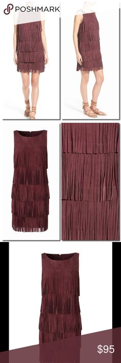 Olivia Palermo Fringed Suede Mini Layers of fluttery fringe cascade down a modern-chic minidress cut from luscious goatskin suede, adding plenty of mesmerizing movement to the statement-making piece. The easy scooped neckline and clean, sleeveless styling ensure this look transitions seamlessly from day to night with a quick swap of accessories.   Exposed back-zip closure. Scooped neck. Sleeveless. Lined. Leather. Professional leather clean. By Olivia Palermo + Chelsea28; imported. t.b.d…