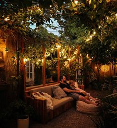 Outdoor Movie Night in a Small Garden — The Tiny Canal Cottage Small Backyard Design, Small Backyard Patio, Patio Design, Back Patio, Backyard Ideas, Backyard Landscaping, Backyard Pools, Small Courtyard Gardens, Small Courtyards