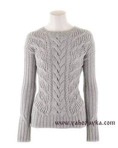 Пуловер с косой в центре переда. Модный пуловер спицами своими руками | Я Хозяйка