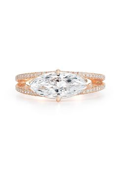 Kwiat. East-West set marquise engagement ring in a split-shank rose gold setting, price upon request, Kwiat
