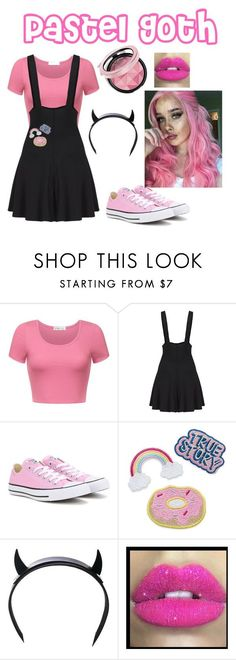 """Pastel Goth-Pink"" by officialsarahrose on Polyvore featuring Converse, Club Exx, Glitter Pink, pastelgoth, alternative and pastelpunk"