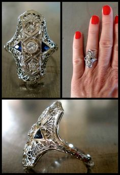 Edwardian diamond and sapphire ring. Via Diamonds in the Library's jewelry gift guide. Coin Jewelry, Art Deco Jewelry, Jewelry Gifts, Jewelry Design, Vintage Engagement Rings, Vintage Rings, Vintage Diamond, Solitaire Engagement, Antique Jewelry