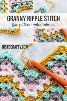 Learn to crochet the Granny Ripple Stitch in this step by step video tutorial, and then use the free printable to calculate your custom foundation chain! Crochet Blanket Edging, Granny Square Crochet Pattern, Crochet Motif, Diy Crochet, Crochet Crafts, Crochet Stitches, Crochet Projects, Crochet Baby, Crochet Crowd