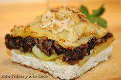 Con Tapas y a lo Loco: Milhojas de patata, morcilla y manzana