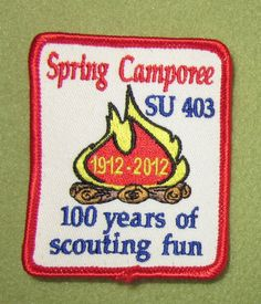 Girl Scouts Greater Chicago Service Unit 403 100th anniversary year patch. Spring camporee. 100 years scouting fun. Liberated from an eBay vest.
