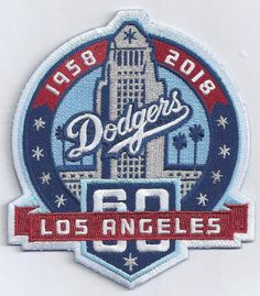 b21d78c6e58 Iron on 1958-2018 LOS ANGELES DODGERS 60TH ANNIVERSARY Embroidered Jersey  Patch  SewOn