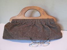Handbag, Vintage Brown Textured Fabric, Wood Handles, Alberta Wood Burned, Canadian Souvenir, Wood Frame Cut Out Handles Top Handle Bag by HobbitHouse on Etsy