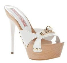 White leather sandal from Gianmarco Lorenzi featuring an open toe, a white front strap with a silver-tone buckle detail and silver-tone studding at the sides, a large wooden platform and a white stiletto heel. Mules Shoes, Shoes Heels, Shoe Boots, High Heel Boots, Sexy Sandals, Platform High Heels, Hot Shoes, Beautiful Shoes, Stiletto Heels