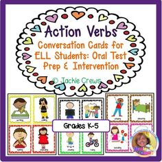 This verb product has 84 cards teachers can use for literacy centers, intervention, or their ELL small groups. The verbs are in the present progressive tense (base word + ing). I created this so that my students would become comfortable with using verbs with ing instead of just the present tense.