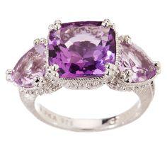 Amethyst & Diamonique Ring