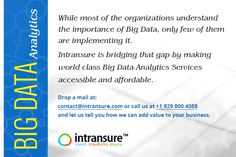 """""""While most of the organizations understand the importance of Big Data, only few of them are implementing it. Intransure is bridging that gap by making world class Big Data Analytics Services accessible and affordable"""" Drop a mail at contact@intransure.com or call us at +1 929 800 4058 and let us tell you how we can add value to your business"""