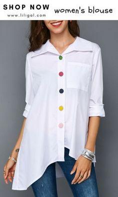USD32.06 Button Front Asymmetric Hem Pocket White Blouse #liligal #blouse #tshirt