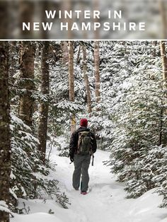 Epic outdoor adventures in New Hampshire and winter vacation inspiration, from skiing and snowboarding to snowmobiling and winter hiking! Winter Hiking, Winter Travel, Winter Fun, Skiing, Snowboarding, England Winter, New England Travel, White Mountains, Lake George