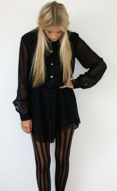 long sleeve black dress with striped black tights