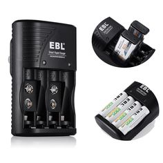 Battery Charger for 9V 9 Volt NiMH NiCd Li-ion AA AAA Rechargeable Batteries New #EBL
