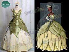 Disney The Princess and the Frog Cosplay Tiana Costume Dress Set. Sheer under petals. Frog Costume, Costume Dress, Cosplay Costumes, Princess Tiana Costume, Disney Princess Tiana, Frog Princess, Tangled Princess, Princess Merida, Princess Bubblegum