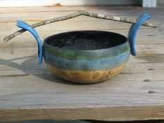 Art gourd bowl with stick handle by patchesandpearls on Etsy