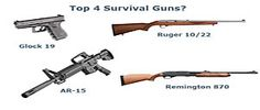 This is pretty common agreement among gun geeks/preppers.  Exact makes/models vary, though.  Pistol, a .22LR, a MBR, and a shotgun.