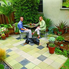 Budget patchwork patio  Dig it, stain it, and it's done in a weekend